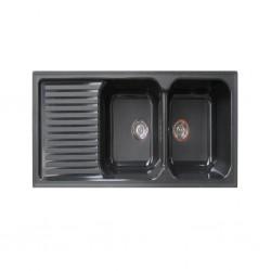 Sintetika (SJTK) Sink Double Bowl With Table Granito Negro