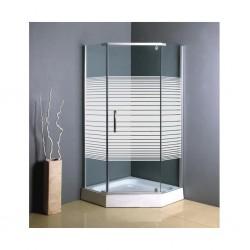 Shower Cabin steel With Base Horizontal White Stripe Plastic Hexagonal Cabin S206