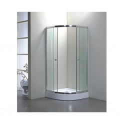 Half Round Shower Cabin With Whited Printed Rays On Glass Double Sliding Doors S131