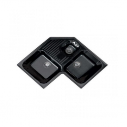 Sintetika (SJTK) Sink Corner 3 Bowls + Table Granito Negro