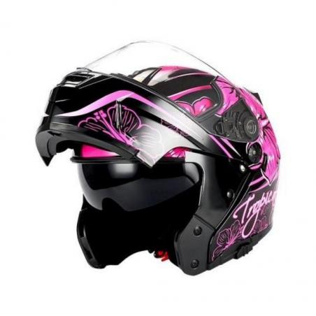 Beon B200 Black/Pink Butterfly Helmet