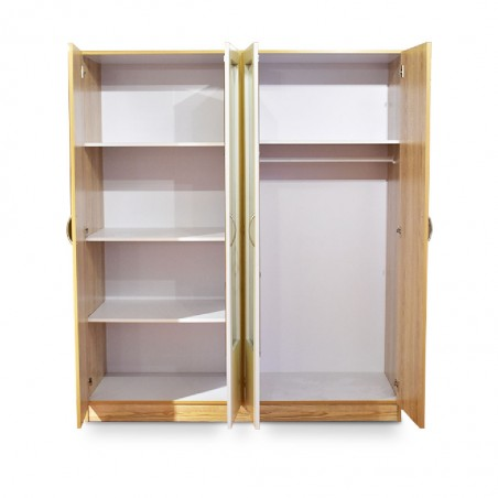 Neo Wardrobe 4 Doors Oak and White MDF