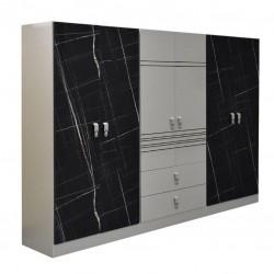 Glasgow Wardrobe 6 Doors PB Black/Off White