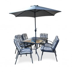 Nelia Table and 6 Chairs With Umbrella