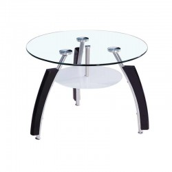 Universal Napal Coffee Table Chrome Metal/Glass