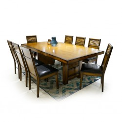 Rebecca Table and 8 Chairs Rubberwood