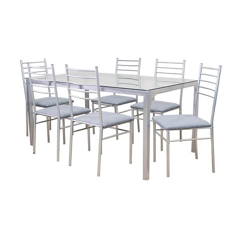 Ezane Table and 6 Chairs Grey