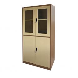 Storage Metal Cupboard Beige & Brown