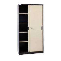 Storage Metal Cupboard Glossy Beige & Brown