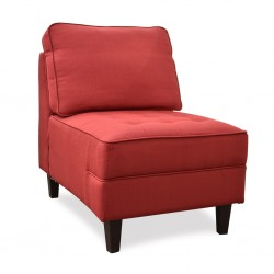 Cove Armless Chair Ruby Color Fabric