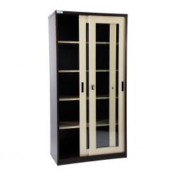 Storage Metal Cupboard Glossy Beige and Brown