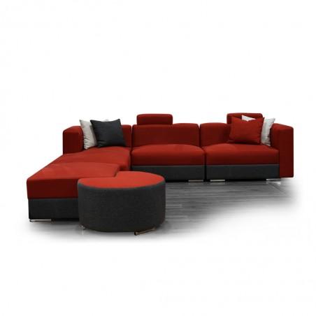 Ontario Sofa Corner Fabric Red/Black
