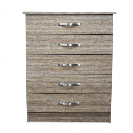 Vanitio Chest of 5 Drawers Brown Wood MDF