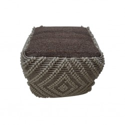 Pouf Hand Woven,Wool & Cotton with EPS beans filli- SE-PF-1087