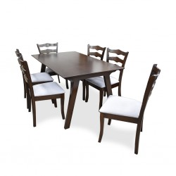 Demia Table and 6 Chairs Rubberwood
