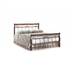 Libra Bed 150x190 cm Oak Metal