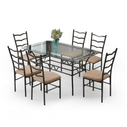 Princy Table and 6 Chairs Metal and Glass