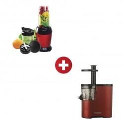 Mayer MMNB1000 1000W Nutri Blender + Mayer MMSJ130 Red Slow Juicer