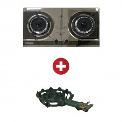Concetto CGB-22083 Built in Blk S/S Double Burner + Concetto CG-30 3 Rings Cast Iron Burner