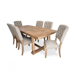Duke Table and 6 Chairs Rubberwood