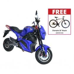 "Speedway A12 2000 Watts Blue Electric Bike & Free Champion 26"" Bicycle"