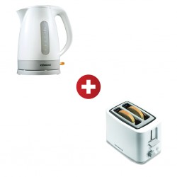 Kenwood JKP280 1.6L WH Kettle + Kenwood TCP01 Plastic WH 2 Slice Toaster