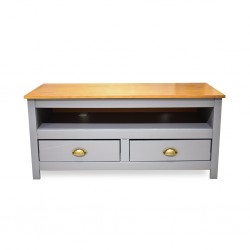 Topazio Low TV Cabinet Pine Wood Grey