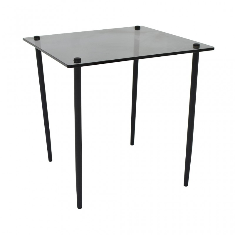 Dova Side Table Metal & Black Glass Top