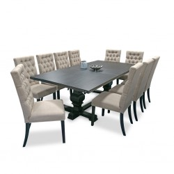 Carson Table and 10 Chairs Rubberwood