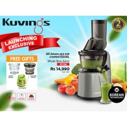 "Kuvings B1700 Dark Silver Whole Slow Juicer 2YW ""O"" + FREE Kuvings Ice sorbet Strainer & Kuvings Smoothie Strainer"