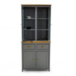 Topazio Hutch/Buffet 2+2 Drawers Pine Wood Grey