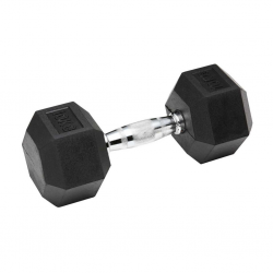 Black Rubber Hex Dumbbell Set 10kg