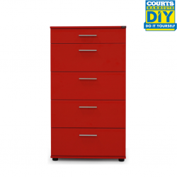 Medford Chest of 5 Drawers Red