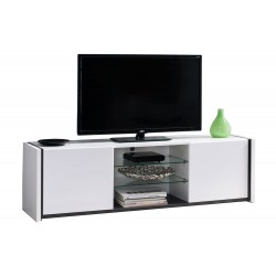 Forma Zoi Low TV Cabinet White/Black Wood