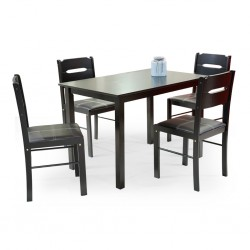 Venice Table and 4 Chairs Rubberwood