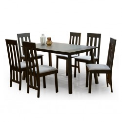 Haris Table and 6 Chairs Rubberwood New Wedge
