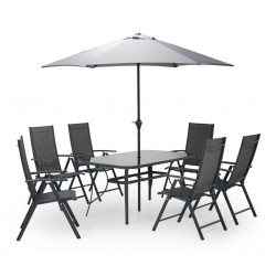 Rosso Table and 6 Chairs + Steel Umbrella