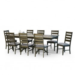 Huston Table and 8 Chairs Rubberwood Grey Fabric