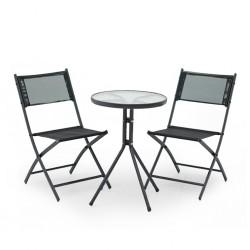 Barnsley Table and 2 Chairs S.Steel Dark Grey