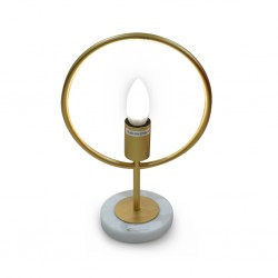 Table Lamp Metal&Marble Brushed Steel Finish