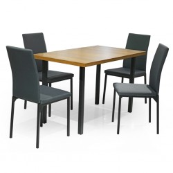 Dynasty Table and 4 Chairs Black Metal/MDF Top
