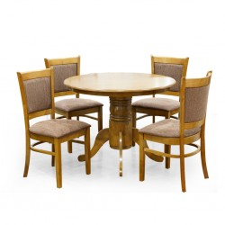 Carlo Table and 4 Chairs Brown Rubberwood