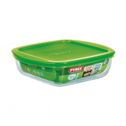 """Pyrex COOK AND STORE 1L Square Dish With Plastic Lid 20x17x5.5 """"O"""""""