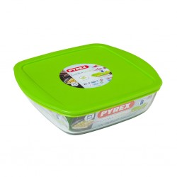 """Pyrex COOK AND STORE 2.2L Square Dish With Plastic Lid 25x22x7 """"O"""""""