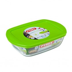 """Pyrex COOK AND STORE 1.1L Rectangle Dish With Plastic Lid 23x15x6 """"O"""""""