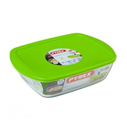 """Pyrex COOK AND STORE 2.6L Rectangle With Plastic Lid 28x20x8 Dish """"O"""""""