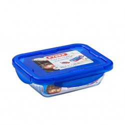 """Pyrex COOK AND GO 20x15 Small Rectangle Dish With Plastic Lid """"O"""""""