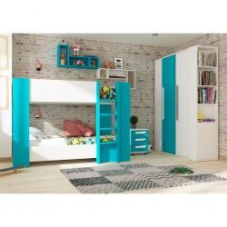 Glitter Bunk Bed 190cm White & Blue Particle Board