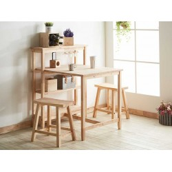 Austin II Table and 2 Chairs Rubberwood
