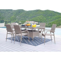Ixia Kapino Table and 6 Chairs Metal & Rattan